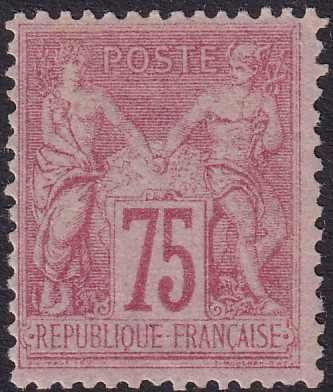 France 1885 - Sage, type II, N under U, 75 centimes pink - Yvert 81