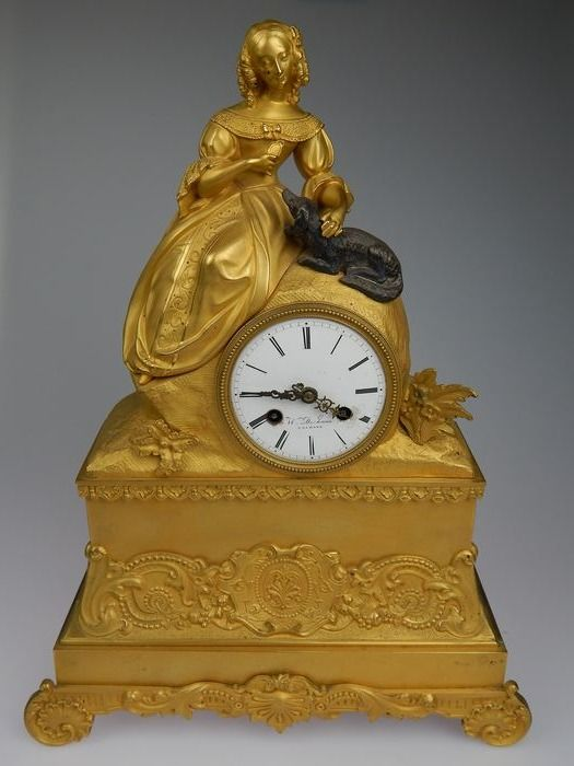 pendel - W. de Haan a la Haya, Charles X, - Bronze (gilt/silvered/patinated/cold painted) - 1840