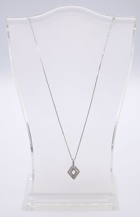 18 carats Or blanc - Collier - 0.46 ct Diamant