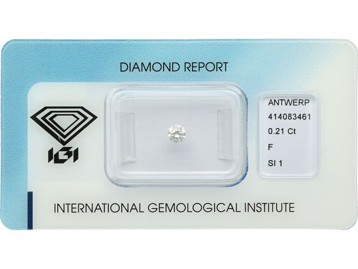 1 pcs Diamant - 0.21 ct - Brillant - F - SI1 ***No Reserve***