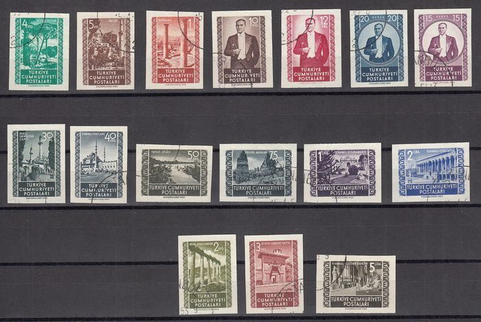 Turkey - Imperforate set, various subjects from 1952, signed - Unificato dal nr. 1144/1159