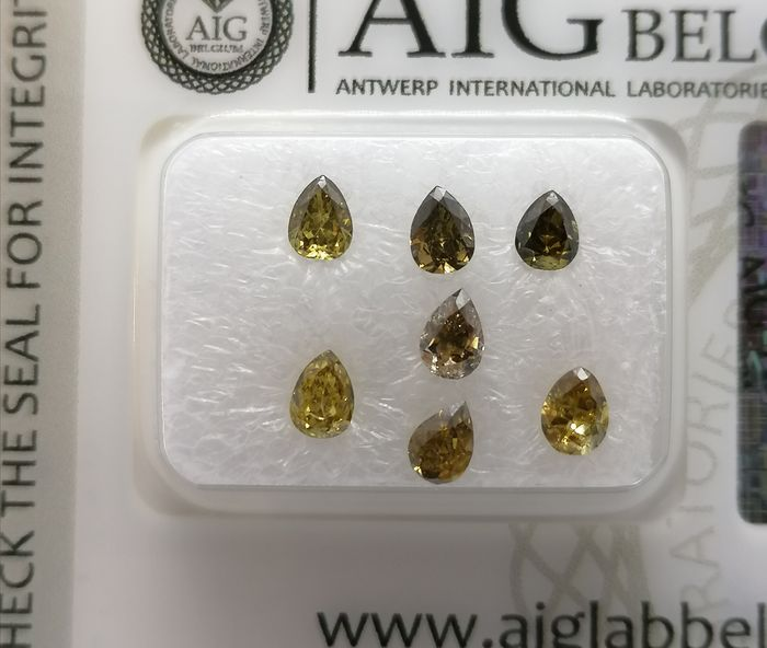 7 pcs Diamantes - 1.11 ct - Pera - Mix fancy colors - ***no reserve price**vs2, si1, si2, i1, i2