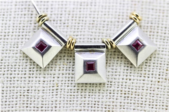 18 carats Or blanc, Or jaune - Collier Rubis