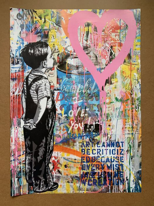 Mr. Brainwash - With all my love plate signed + COA - 2019