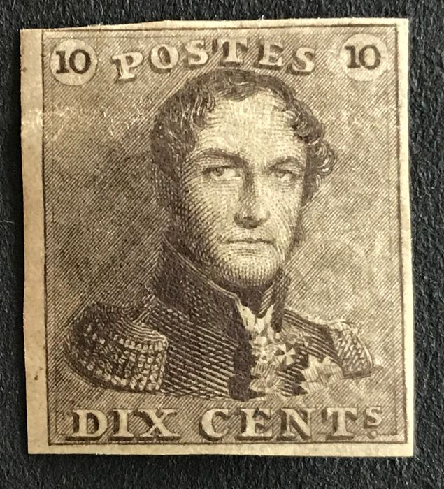 Belgien 1849 - Leopold I Epaulette 10 centimes, mint with sheet edge - OBP / COB 1
