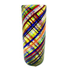 Gabriele Urban - L.A. Murano Glass - Large vase twisted colored reeds and aventurine (27.5 cm)