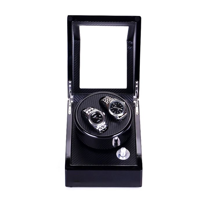 Luxurious - Watchwinder 2 horloges Carbon Piano stijl hout