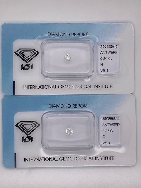 2 pcs Diamants - 0.49 ct - Rond - G, H - VS1