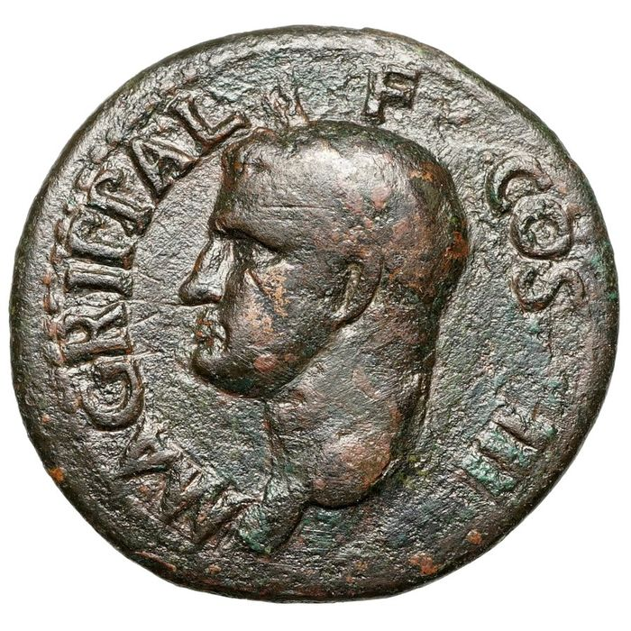 Roman Empire. Agrippa (64/3-12 BC). Æ As,  Rom, NEPTUN