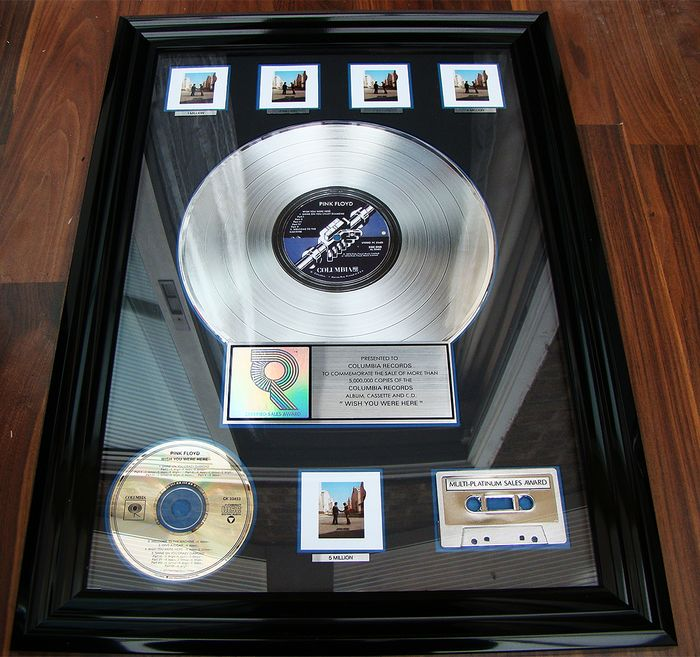 "Pink Floyd - ""Wish You Were Here"" 5 x  Platinum USA award sales Rare - Offizieller RIAA-Award - 1995"