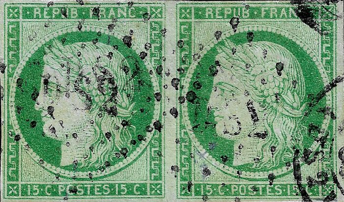 France 1850 - Superb 15 cents green in pair, with 'DS2' cancellation - Yvert 2