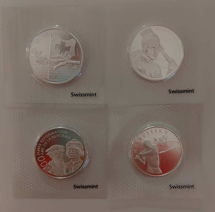 Zwitserland. 20 Francs 2015/2020 Commemorative (4 pieces)