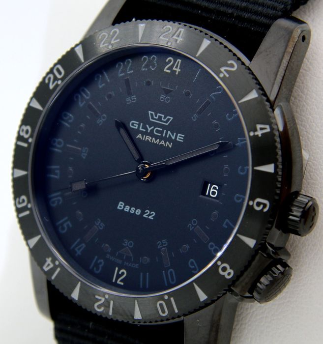 """Glycine - """"NO RESERVE PRICE"""" - Airman """"Base 22"""" Black Tone - SWISS MADE - - GL0216 - Hombre - 2011 - actualidad"""