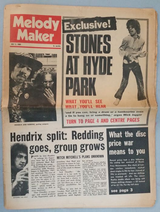 Rolling Stones - Melody Maker - Music Newspaper - 1969/1969