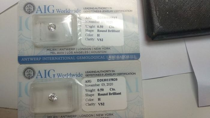 2 pcs Diamantes - 1.00 ct - Brillante - H - VS2