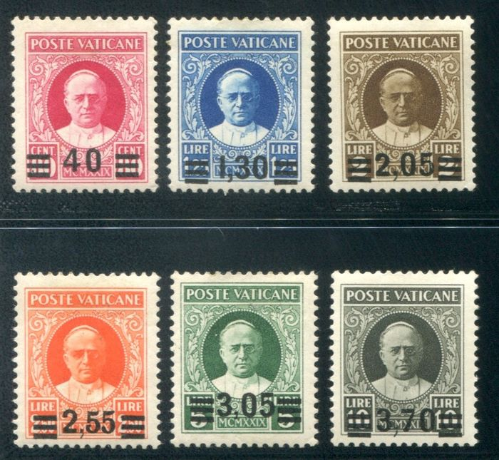 Vaticaanstad 1934/1937 - Complete provisional set of 6 values, first issue - Sassone A35/A40