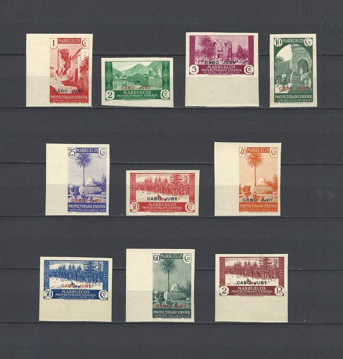 Kaap Juby 1935/1936 - Overprinted (enabled) stamps from Morocco. Complete imperforated set. - Edifil 67s/84s