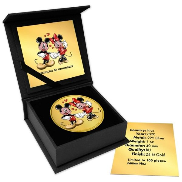 Niue. 2 Dollars 2020 Mickey & Minnie Mouse Colorized Gilded Edition - 1 Oz