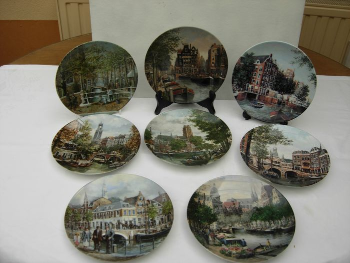 Mosa - Decorative plates, Canals of Holland. (8) - Porcelain