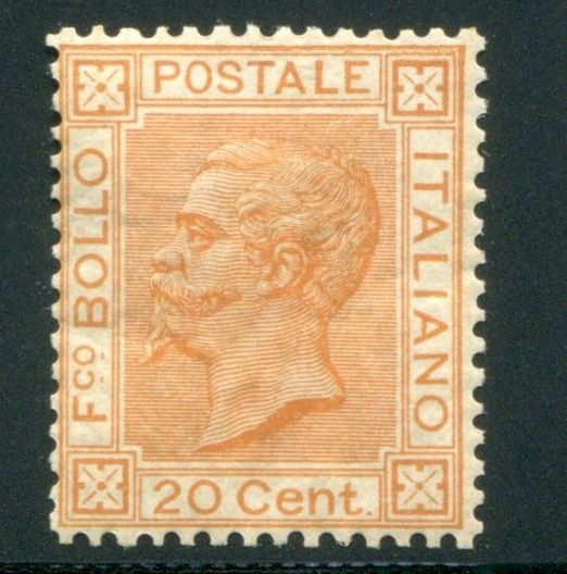 Italien Königreich 1877 - 20 cents orange ochre - Sassone N. 28