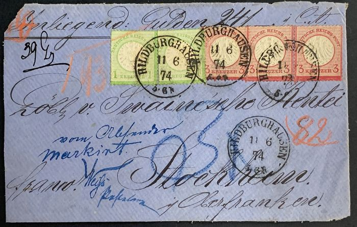 """Duitse Rijk 1872 - Mixed franking with 1 krone large """"Breast Shield"""" and 3 kronen small """"Breast Shield"""" on insured letter front - Michel Nr. 9 (3) und 23a (2)"""