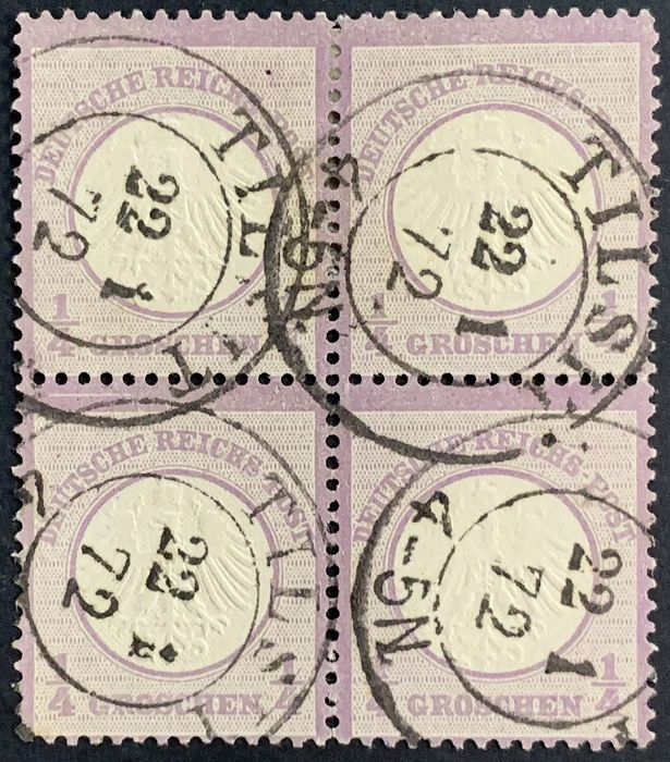 German Empire 1872 - 1/4 groschen block of four from Tilsit with fresh colour, good embossing and good perforation - Michel Nr. 1 (4-er Block)
