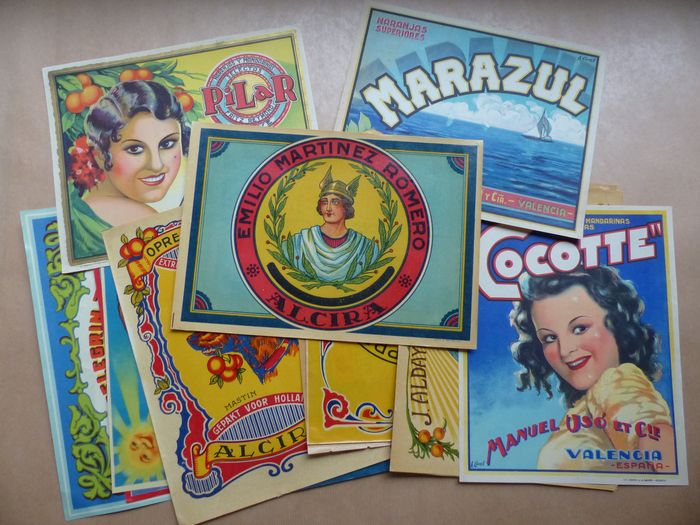 Anonymous - Beautiful Collection of 26 Small Spain Posters of Oranges - Years 1920-1930-1940-1950 - Very Rare