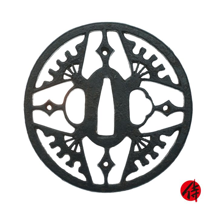 Tsuba (1) - Ghisa - Fan - Owari school's maker - Antique Tsuba for Samurai Sword (T-55) - Giappone - Periodo Edo (1600-1868)