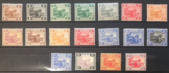 federerated Malaya states - 1900/34 batch of 22 stamps incl. 5$