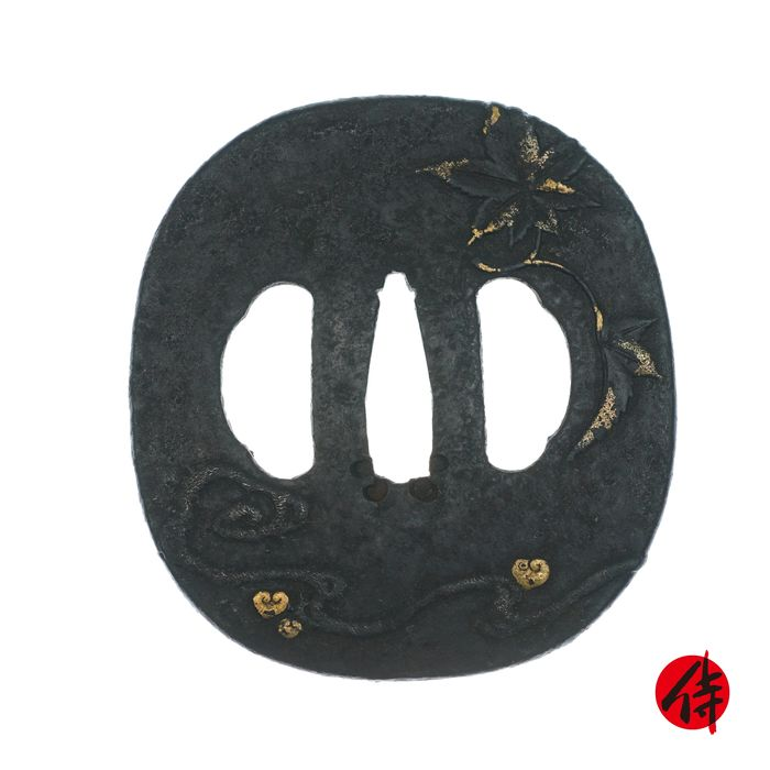 Tsuba (1) - Fonte - Érables - Higo school's maker - Antique Tsuba for Samurai Sword (T-8) - Japon - Fin de la période Edo
