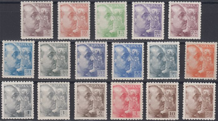 Spain 1940/1945 - General Franco. Complete set. Well centred. - Edifil 919/935