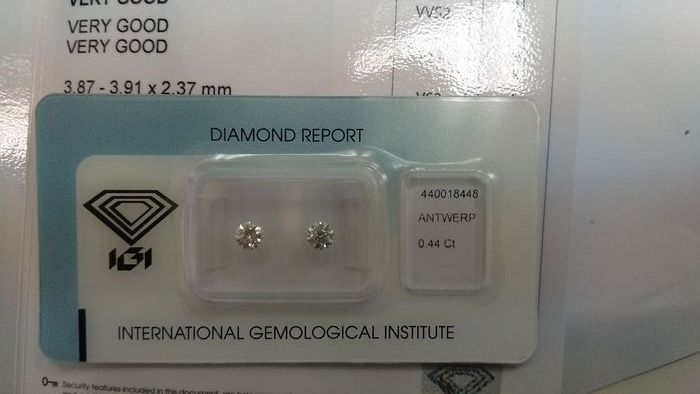 2 pcs Diamants - 0.44 ct - Brillant - E, F - VS1, VVS2, PAIR