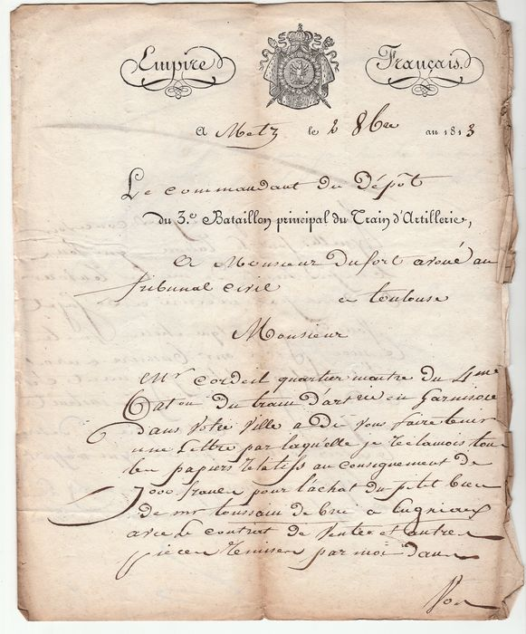 Francia 1813/1827 - Lot of 4 letters, complete with official marks, including one from the First Empire.