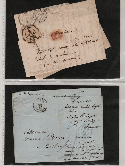 Francia 1842/1868 - Lot of 7 letters including international with brands PP, PD...