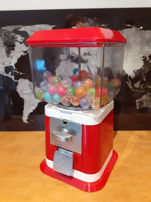 Distributeur de chewing gums, gum ball machine (1) - Art populaire - Acier, Plastique