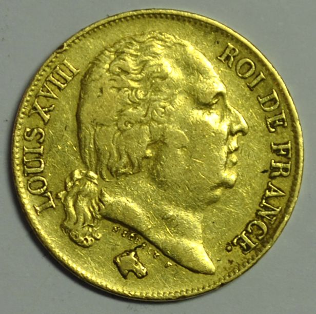 France. Louis XVIII (1814-1824). 20 Francs 1818-W, Lille