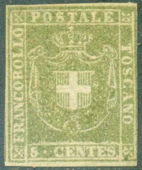 Anciens états italiens - Toscane 1860 - Provisional Government 5 c. olive green - Sassone N. 18a