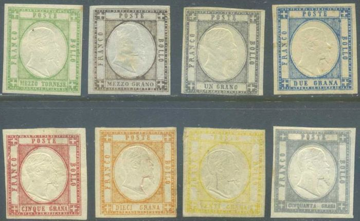 Italiaanse oude staten - Napels 1861 - Neapolitan Provinces, set of 8 values - Sassone NN. 17/24
