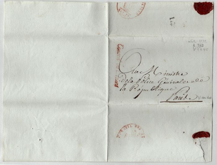 Francia 1793/1798 - Lot of 3 letters from the revolution, letters from Citoyens, Vendémiaire, Pluviose...