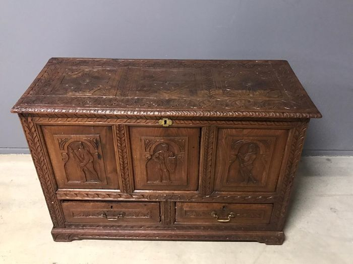 Image 3 of Casket, Chest of drawers, Blanket chest - Renaissance Style - Oak - 19th century