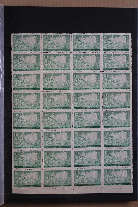 Cina 1910/2009 - Collection of sheet parts, blocks and stamps in two stock books
