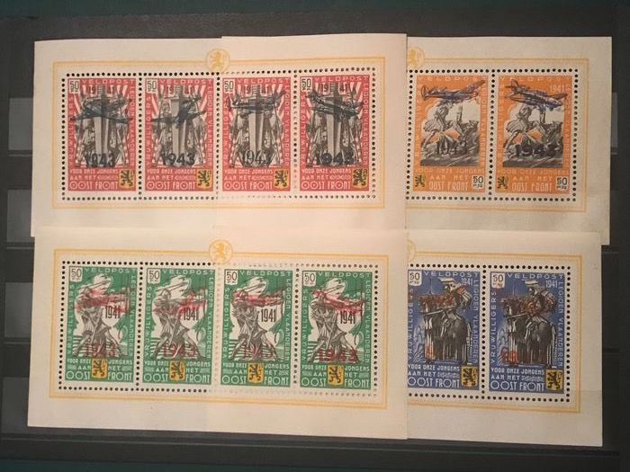 Belgium 1943 - Sheetlets Flemish Legion with overprint '1943' and airplane - OBP / COB E34/37