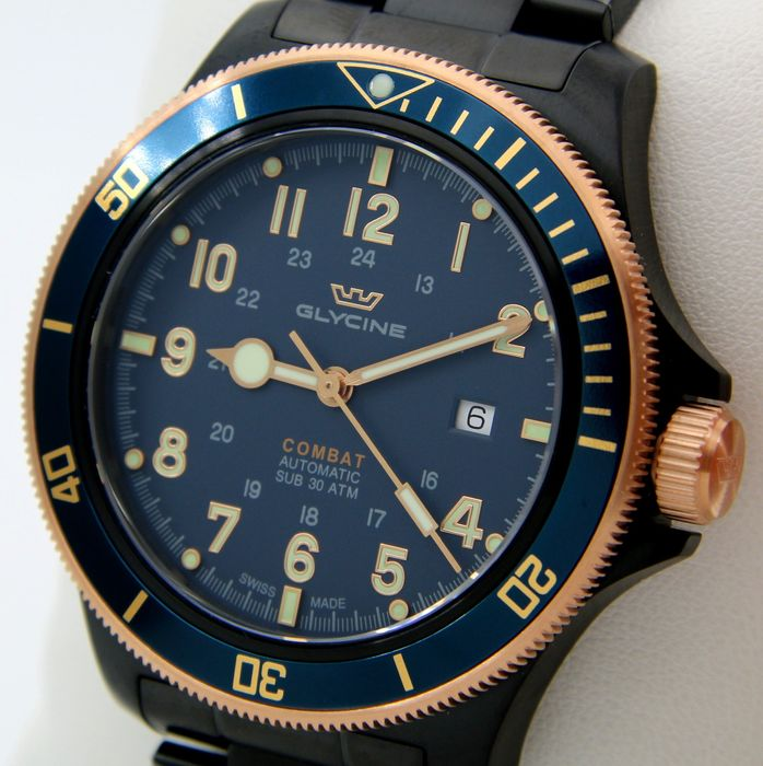 """Glycine - """"NO RESERVE PRICE""""- Combat Sub 300M Automatic """"Blue-Gold Tone"""" - SWISS MADE - GL0279 - Hombre - 2011 - actualidad"""