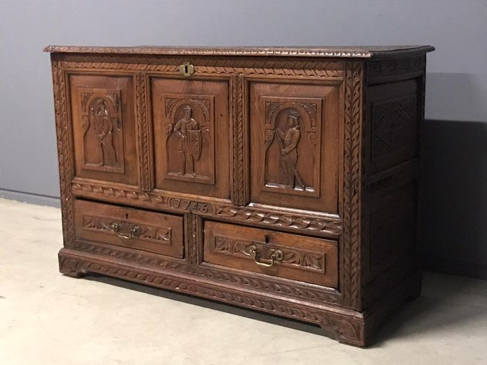 Image 2 of Casket, Chest of drawers, Blanket chest - Renaissance Style - Oak - 19th century