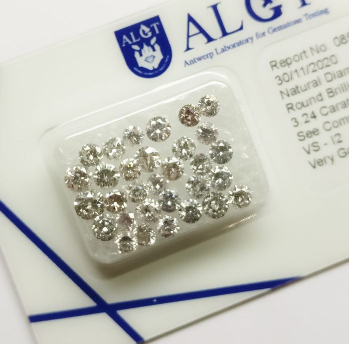 31 pcs Diamonds - 3.24 ct - okrągły - pink - VS-I2