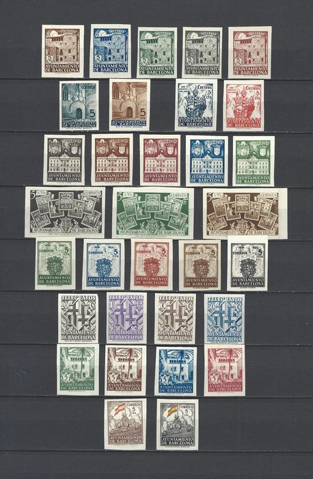 Spagna 1936/1945 - Barcelona City Council complete imperforated sets