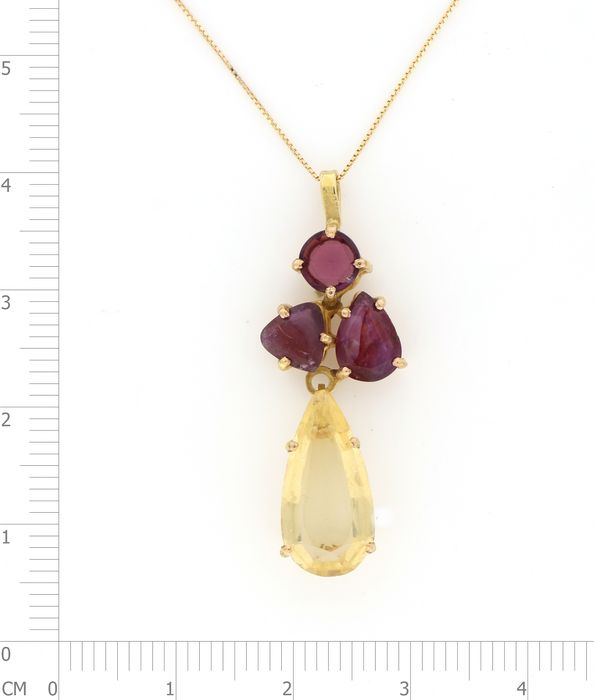 Image 3 of 18 kt. Yellow gold - Necklace, Necklace with pendant - 5.00 ct Citrine - Garnets, Rubies