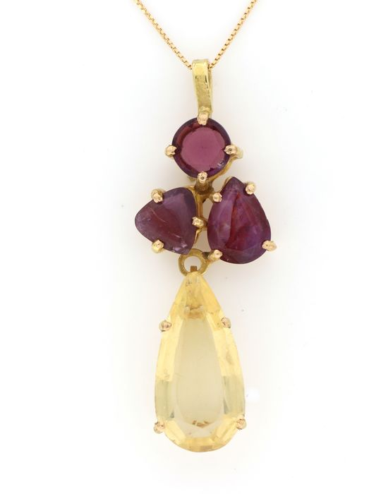 Image 2 of 18 kt. Yellow gold - Necklace, Necklace with pendant - 5.00 ct Citrine - Garnets, Rubies