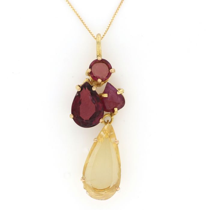 Image 2 of 18 kt. Yellow gold - Necklace, Necklace with pendant - 2.00 ct Ruby - Citrine, Garnets