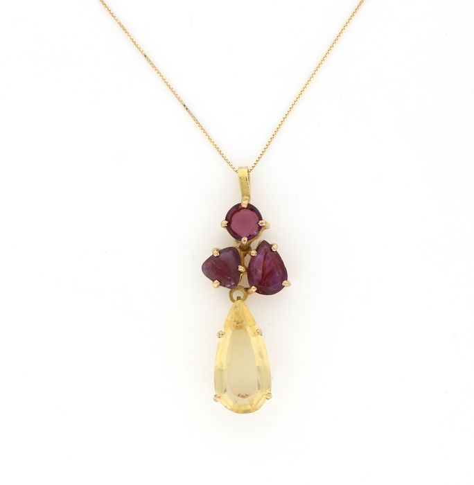 Preview of the first image of 18 kt. Yellow gold - Necklace, Necklace with pendant - 5.00 ct Citrine - Garnets, Rubies.